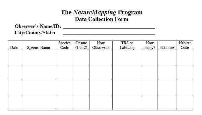 Naturemapping  How To Use The Data Collection Form. Printable Cd Sleeve Template. Resume Template High School Student. Simple Invoice Template For Freelance. Medical Curriculum Vitae Template. Blue And Gold Graduation Decorations. Christmas Greeting Cards Images. Lexus College Graduate Program. Athletic Training Graduate Assistantships