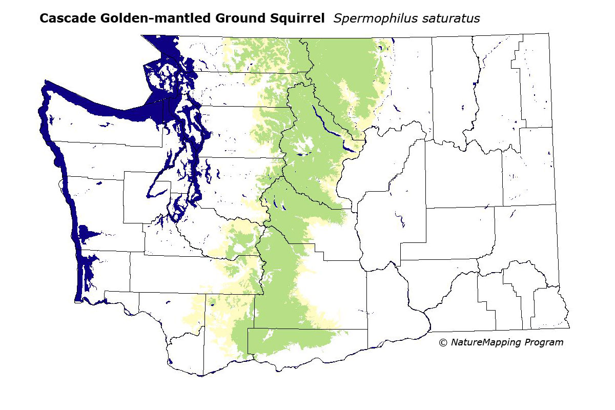 Distribution Map Cascade Goldenmantled Ground Squirrel
